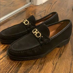Men's Black and Gold Ferragamo Loafers